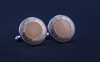 Silver/Golden Brown Designed Round Cufflinks